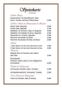Speisekarte Cafe Kloiber